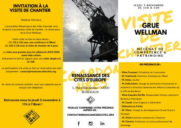 Adrénaline : Invitation visite de chantier Grue Wellman